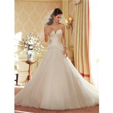 Princess A Line Sweetheart Corset Back Ruched Satin Tulle Lace Beaded Wedding Dress