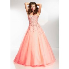 Princess A Line Sweetheart Long Coral Organza Beaded Prom Dress Corset Back