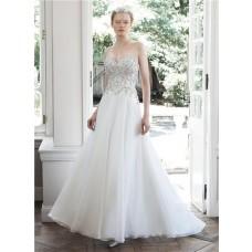 Princess A Line Sweetheart Organza Lace Beaded Wedding Dress