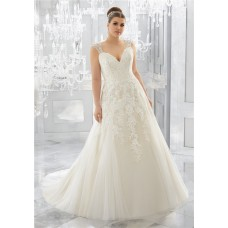 Princess A Line Sweetheart Tulle Lace Plus Size Wedding Dress With Straps