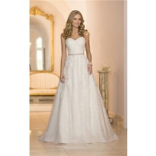 Princess A Line Sweetheart Tulle Lace Wedding Dress With Crystals Belt
