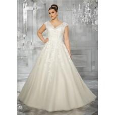Princess A Line V Neck Cap Sleeve Organza Lace Plus Size Wedding Dress