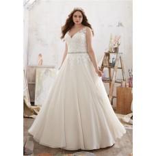 Princess A Line V Neck Organza Lace Crystals Beaded Plus Size Wedding Dress