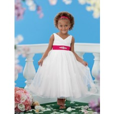 Princess A Line V Neck Tea Length White Organza Red Sash Little Flower Girl Dress