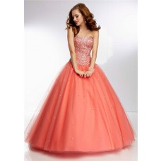 Princess Ball Gown Strapless Long Coral Tulle Beaded Prom Dress Corset Back