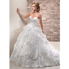Princess Ball Gown Sweetheart Layered Organza Puffy Wedding Dress With Flowers