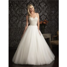 Princess Ball Gown Sweetheart Tulle Wedding Dress With Embroidery Beading Pearl