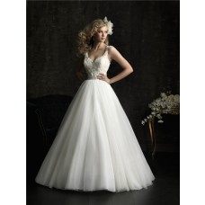 Princess Ball Gown V Neck Tulle Lace Wedding Dress With Straps Belt