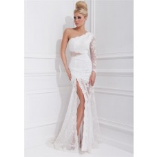 Princess Mermaid One Shoulder Sleeved Long White Lace Homecoming Prom Dress
