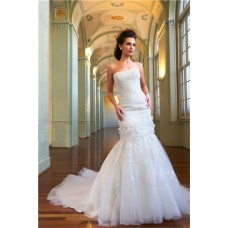 Princess Mermaid Strapless Tulle Lace Beaded Bridal Wedding Dress With Cathedral Train