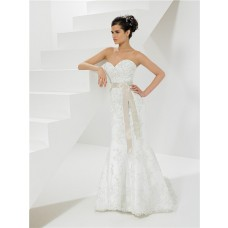 Princess Mermaid Sweetheart Lace Wedding Dress With Bolero Jacket Sash