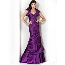 Princess Mermaid Sweetheart Long Purple Silk Evening Dress With Flowers Bolero Jacket