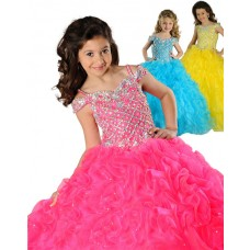 Puffy Ball Gown Hot Pink Organza Beaded Little Girls Party Prom Dress With Straps