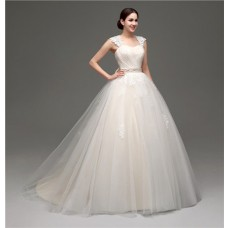 Puffy Ball Gown Keyhole Open Back Champagne Satin Lace Wedding Dress Bow Sash