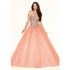 Puffy Ball Gown Strapless Corset Back Light Coral Satin Tulle Beaded Prom Dress