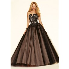 Puffy Ball Gown Strapless Corset Black Tulle Lace Beaded Prom Dress