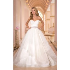Puffy Ball Gown Sweetheart Tulle Ruffle Beaded Crystal Wedding Dress