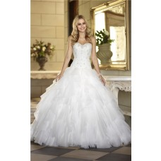 Puffy Ball Gown Tulle Ruffle Lace Crystal Beaded Corset Wedding Dress
