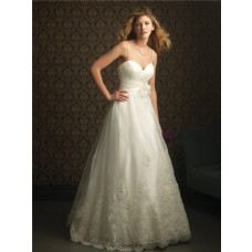 Romantic A Line Spaghetti Strap Sweetheart Tulle Lace Wedding Dress Empire Waist