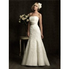 Romantic A Line Strapless Ruched Organza Lace Wedding Dress With Crystals Belt