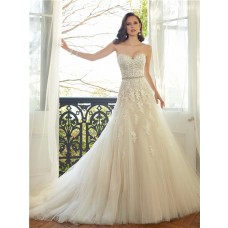 Romantic A Line Strapless Sweetheart Ivory Tulle Lace Beaded Crystal Wedding Dress