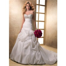 Romantic A Line Sweetheart Corset Back Organza Beading Wedding Dress With Bubble