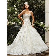 Romantic A Line Sweetheart Neckline Ivory Satin Lace Wedding Dress Chapel Train