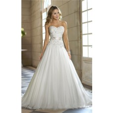 Romantic A Line Sweetheart Tulle Lace Corset Wedding Dress With Sash