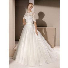 Romantic Ball Gown Scalloped Neck Tulle Lace Sleeve Wedding Dress With Sash