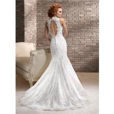 Romantic Mermaid Sweetheart Beaded Lace Wedding Dress With Keyhole Open Back