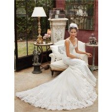 Romantic Mermaid V Neck Open Back Lace Beaded Wedding Dress With Straps Train