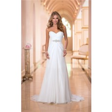 Romantic Strapless Sweetheart Chiffon Draped Corset Wedding Dress With Crystals