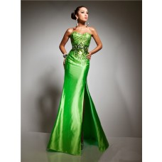 Royal Mermaid Sweetheart Long Lime Green Taffeta Prom Dress With Beading Sequins