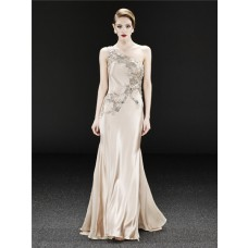 Royal One Shoulder Long Champagne Silk Beaded Crystal Evening Dress