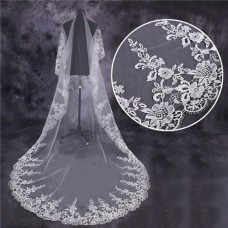 Royal One Tier Tulle Venice Lace Long Cathedral Wedding Bridal Veil