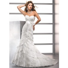 Royal Trumpet/ Mermaid Sweetheart Tiered Lace Wedding Dress With Crystals Bow