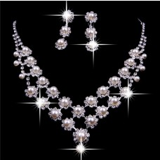 Royal pearl Wedding Bridal Jewelry Set,Including Necklace And Earrings