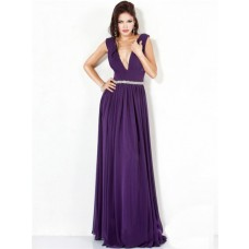 Sexy A Line Deep V Neck Long Purple Chiffon Evening Dress With Low Back