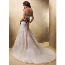 Sexy A Line Off The Shoulder Lace Wedding Dress With Detachable Straps Belt