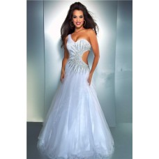 Sexy A Line One Shoulder Side Cut Out Long White Tulle Beaded Prom Dress