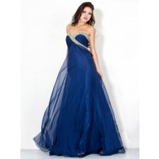 Sexy A Line Sweetheart Long Navy Blue Chiffon Beaded Evening Wear Dress