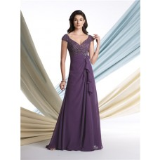 Sexy A Line V Neck Cap Sleeve Purple Chiffon Sequined Mother Of The Bride Evening Dress