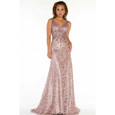 Sexy A Line V Neck Long Nude Lace Beaded Special Occasion Evening Dress
