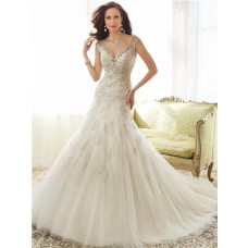 Sexy A Line V Neckline Illusion Back Tulle Lace Beaded Crystal Wedding Dress With Buttons