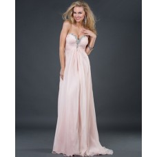 Sexy A line/Princess sweetheart long pink beading chiffon evening dress with crystals