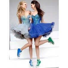 Sexy Ball Tutu Sweetheart Short Mini Royal Blue Tulle Beaded Cocktail Prom Dress