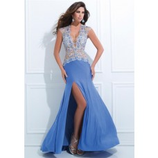 Sexy Deep V Neck Cap Sleeve Blue Chiffon Tulle Beaded Long Prom Dress With Slit