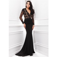 Sexy Deep V Neck Keyhole Open Back Long Sleeve Black Chiffon Lace Applique Evening Dress