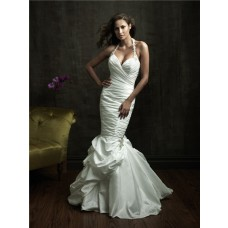 Sexy Fitted Mermaid Halter Taffeta Wedding Dress With Ruching