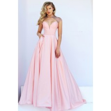 Sexy Front Cut Out Open Back Light Pink Satin Beaded Prom Dress With Collar